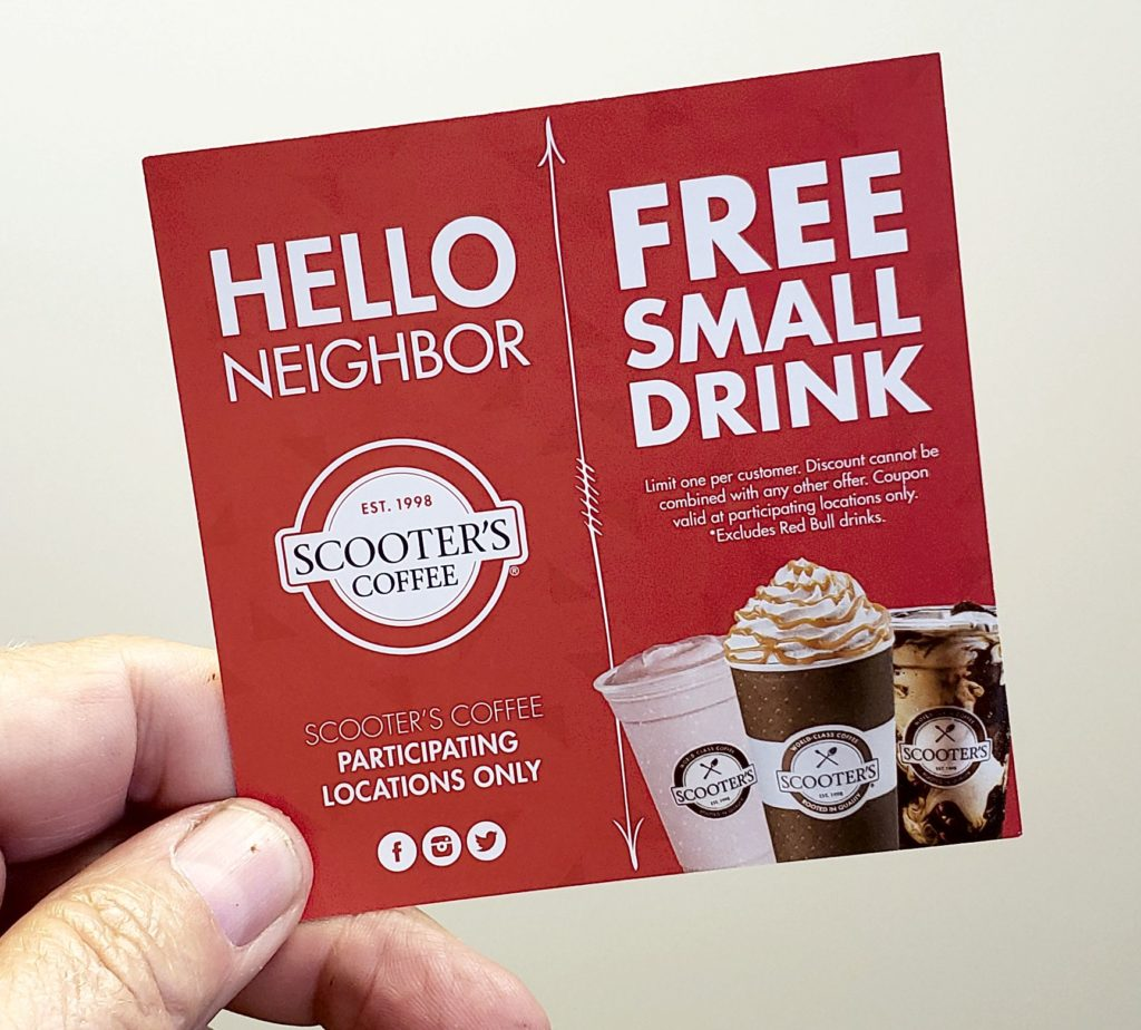Free Small Drink from Scooters Card